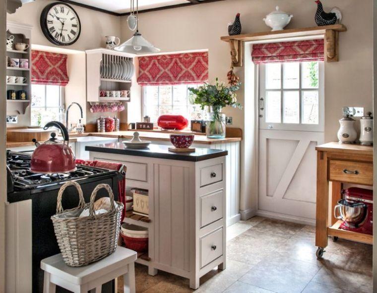 exemple petite cuisine decoration rustique meuble bois style anglais - moderniser un meuble en bois