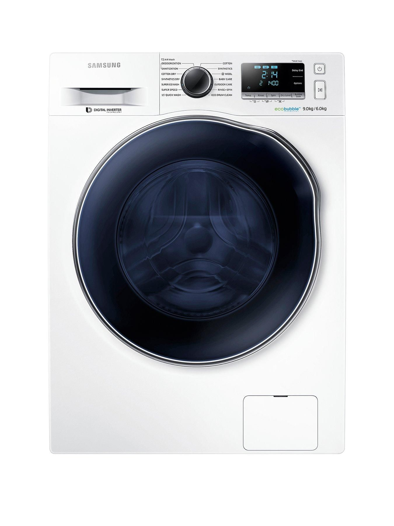 Wd90j6a10aw Eu 9kg Wash 6kg Dry 1400 Spin Washer Dryer With Ecobubble Technology White Washer And Dryer Washer How To Make Light