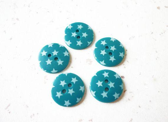 """lot de 5 boutons originaux /"""" turquoise /"""" 22mm mercerie couture button"""