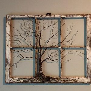 Photo of Tree of Life Sculpture in Vintage, Antique Window, Rustic, Boho, Celtic, Traditional Style.