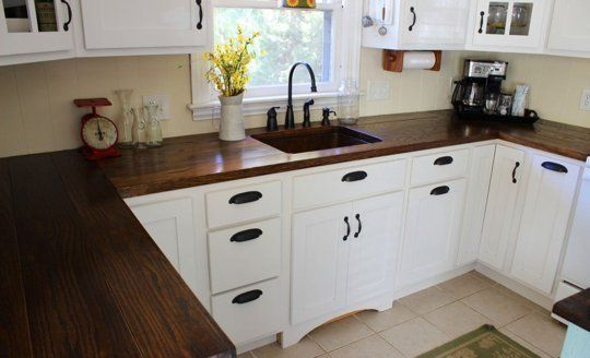 Before After A Kitchen Makeover With Stunning Diy Countertops Wooden Countertops Kitchen Kitchen Renovation Kitchen Makeover