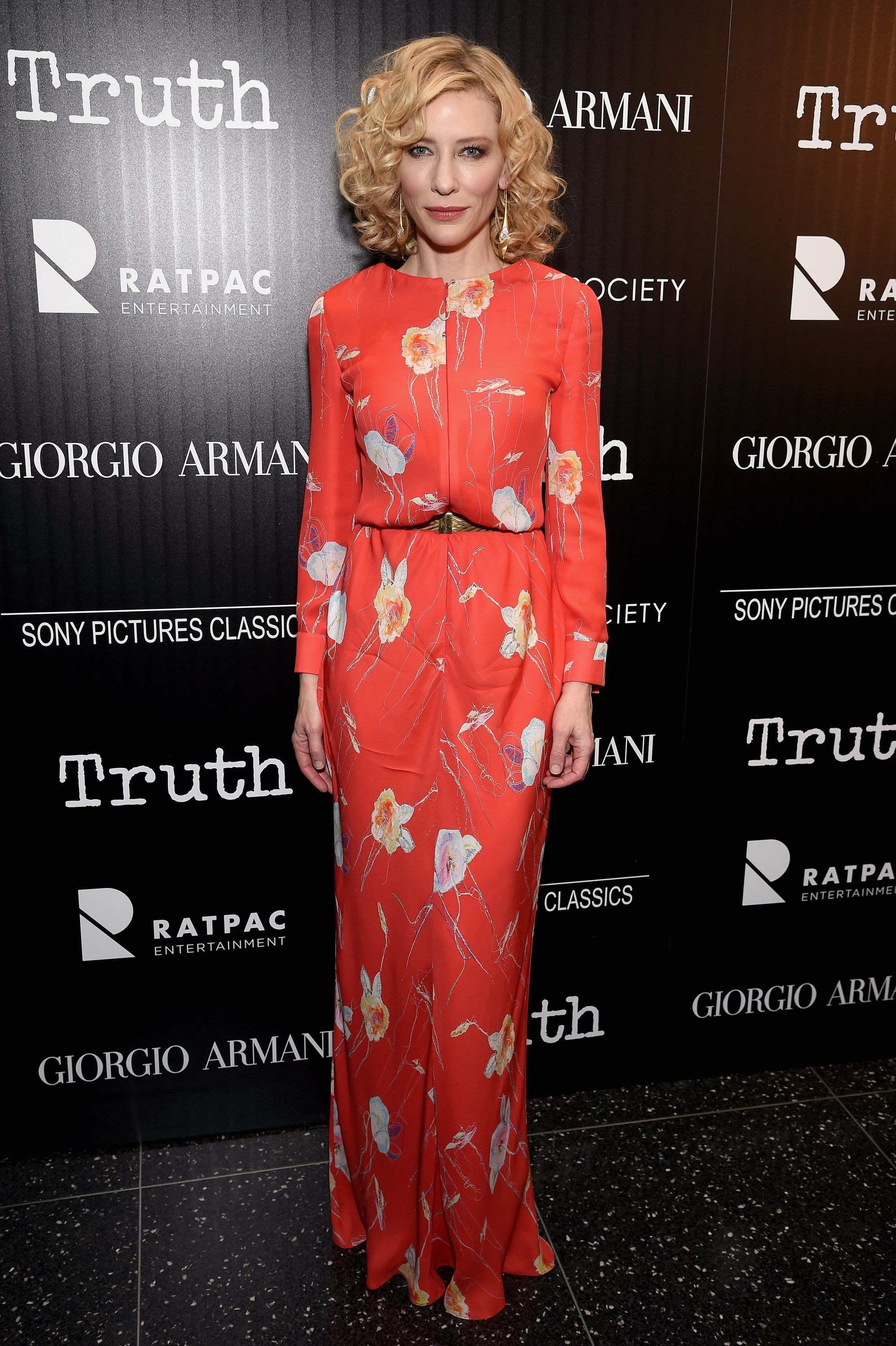 Royal blue n yellow dress  Truth  New York Premiere  October th     Cate Blanchett