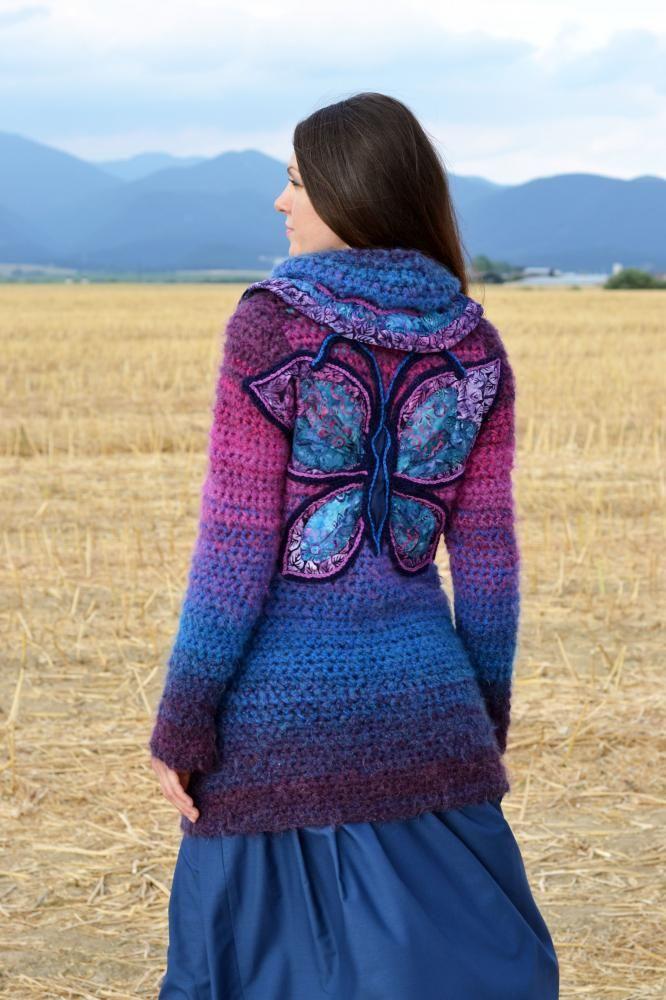 Butterfly Effect Artika Sashesk Handmade Svetrepulóvre