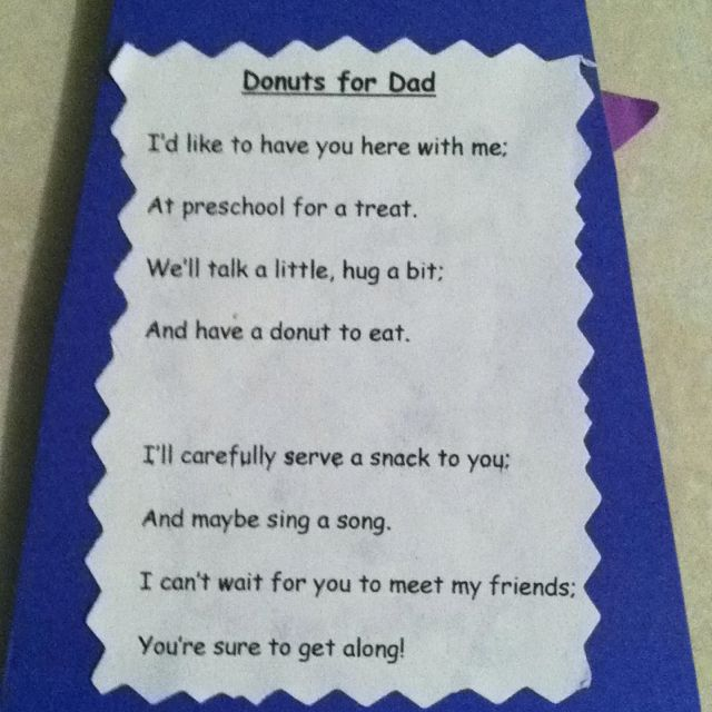 """Poem Invite to """"Donuts for Dad"""" on back of tie 