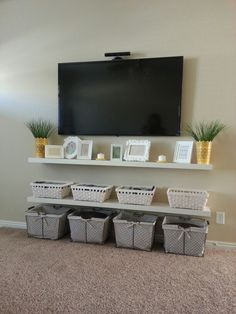Beau Floating Shelves Under Wall Mounted Tv White Stained Wooden 2 Tier Shelf  With Rattan Basket 17 Best Ideas About Tv Wall Shelves On Pinterest Tv  Shelving