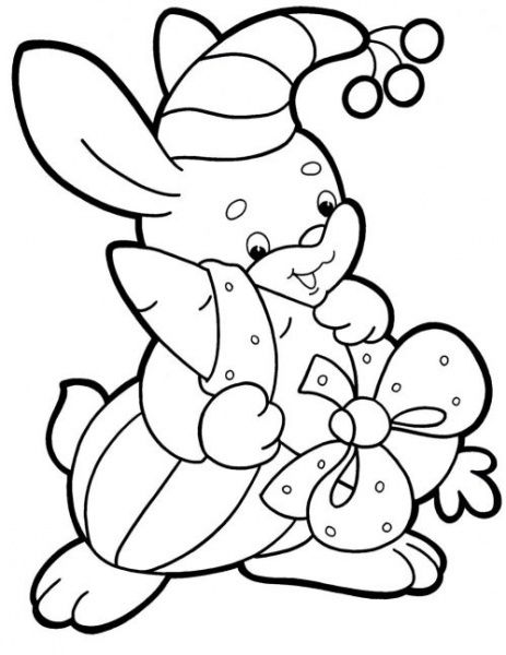 rabbit | Merry christmas coloring pages, Christmas tree ...