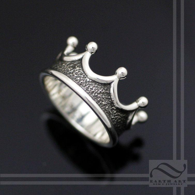 Mens Crown Ring – Choose your metal – Royal Wedding Ring – Sterling Silver, 10k, 14k 18k, yellow white and rose gold palladium and platinum