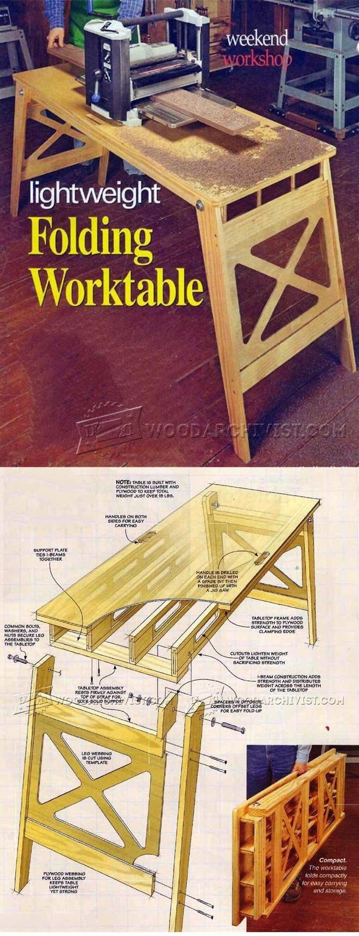 Folding Work Table Plans - Workshop Solutions Plans, Tips and Tricks   WoodArchivist.com