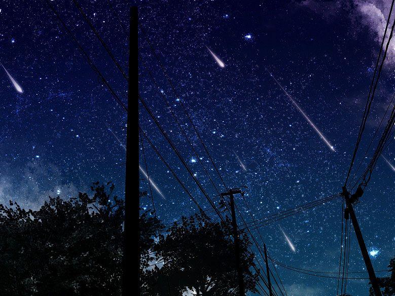 電柱と流れ星
