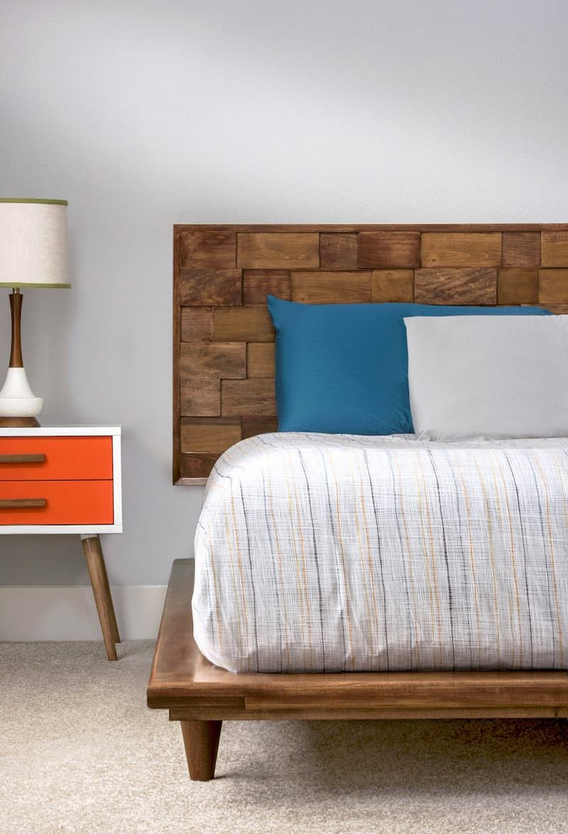 Mid Century Modern Diy Wood Headboard Diy Platform Bed Diy