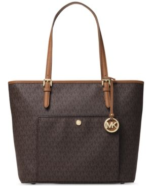 Michael Michael Kors Signature Jet Set Item Large Top Zip Snap Pocket Tote - Brown