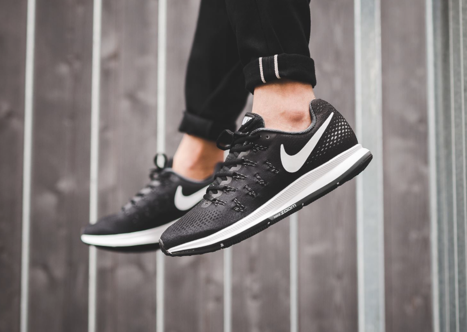 The Nike Air Zoom Pegasus 33 is treated in black/cool grey for its latest