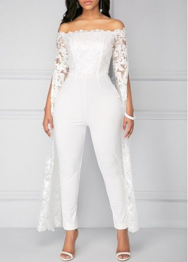 1d05d0734f3 Rosewe Women Jumpsuit White Lace Dressy Off The Shoulder Evening ...