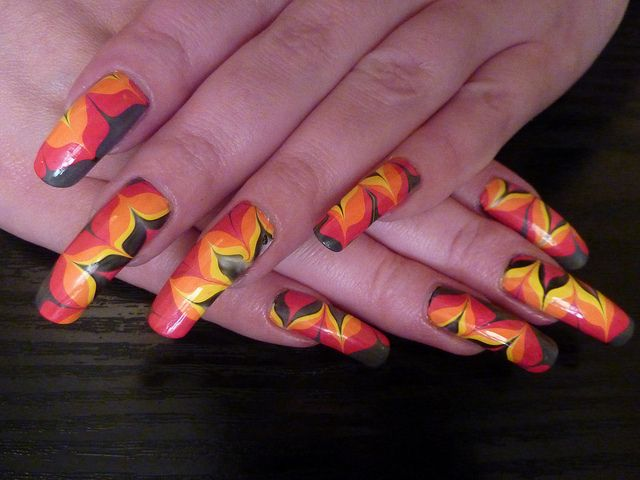 Fire Flower Water Marble Nail Art Design Long Real Natural Nails