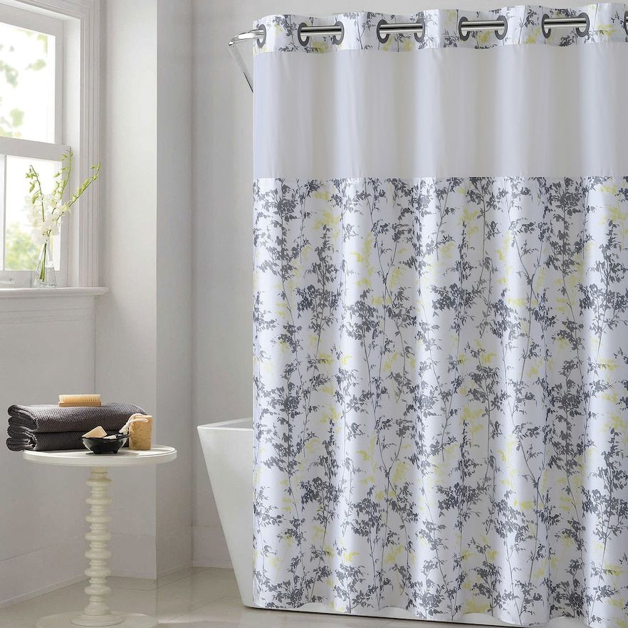 Hookless Floral Leaves Shower Curtain Water Resistant Liner Gold 71x74 Hookless Shower Curtain Curtains Shower Curtains Walmart