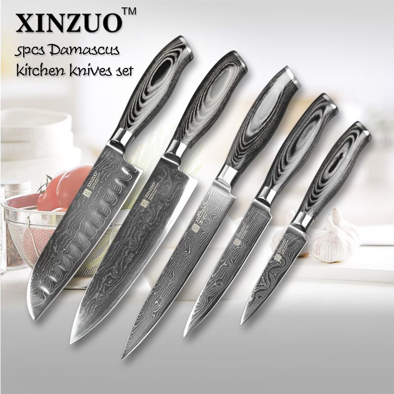 5 pcs kitchen knives set 73 layers japanese vg10 damascus steel kitchen knife set cleaver chef. beautiful ideas. Home Design Ideas