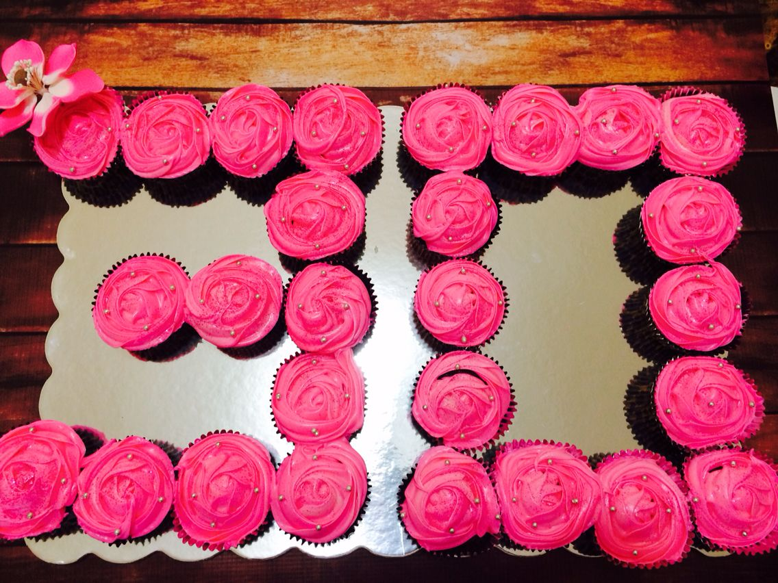 Number 30 Shaped Cupcakes