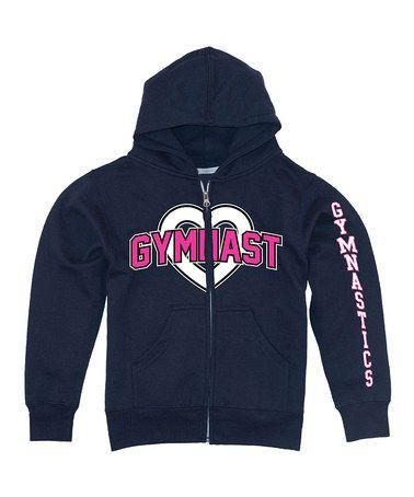 Another great find on #zulily! Black 'Gymnast Gymnastics' Heart Zip-Up Hoodie - Girls #zulilyfinds
