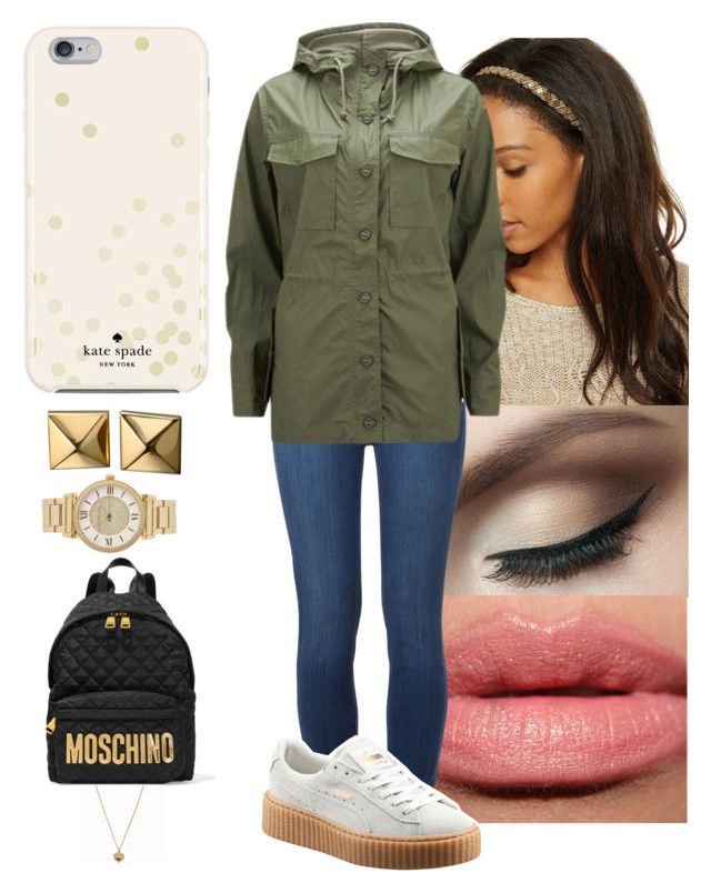 """"""""""" by yanniixo on Polyvore featuring Paige Denim, Current/Elliott, Puma, Kate Spade, Waterford, Michael Kors and Moschino"""