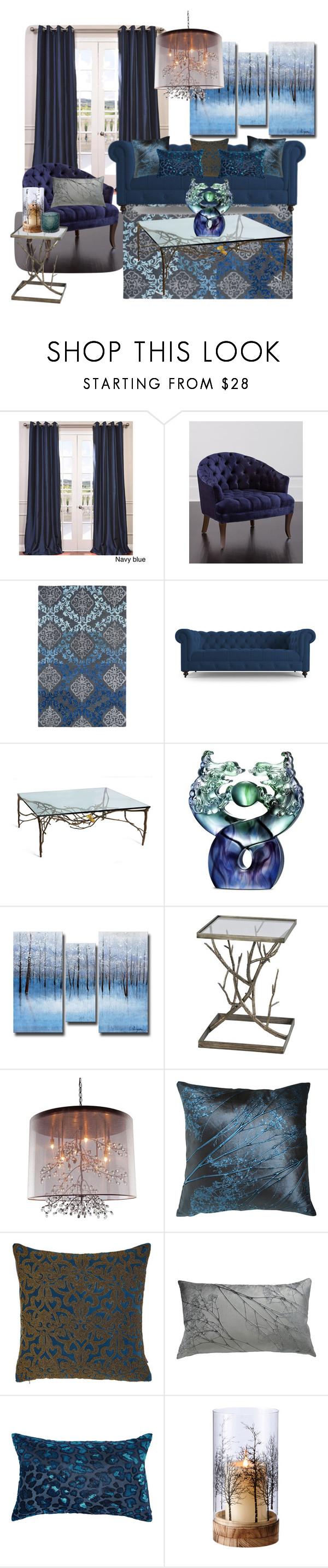 """""""Blue Branches"""" by amanda-lombardi ❤ liked on Polyvore featuring interior, interiors, interior design, home, home decor, interior decorating, EFF, Haute House, Joybird Furniture and Michael Aram"""