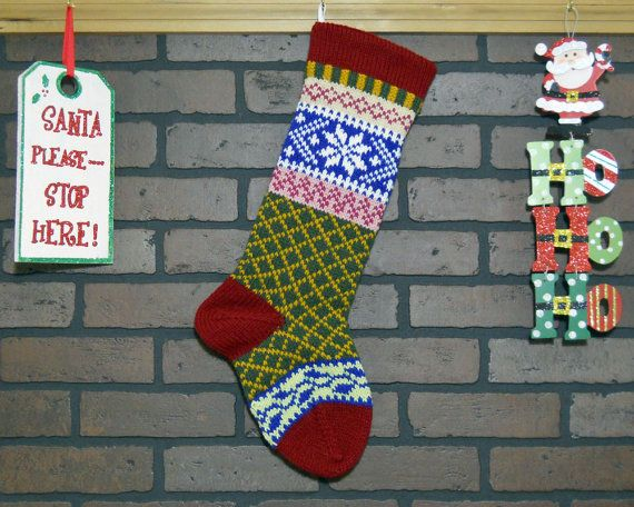 Hand Knit Christmas Stocking in Red, Fair Isle Knit with White ...