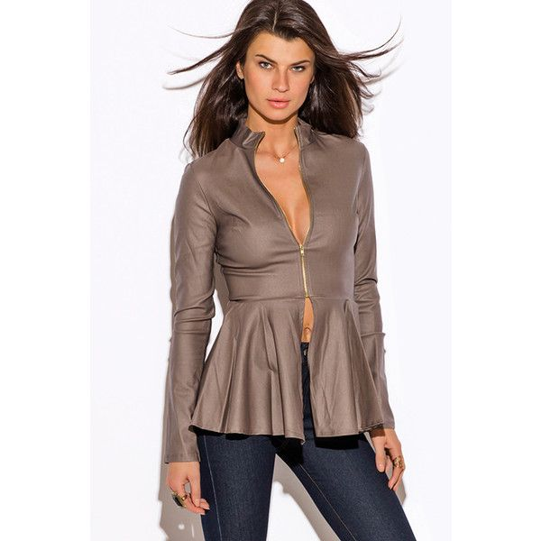 Mocha brown zip up high neck peplum blazer jacket (27 CAD) ❤ liked on Polyvore featuring outerwear, jackets, brown, blazer jacket, high neck jacket, stretch blazer, ruffle blazer jacket and zip up blazer