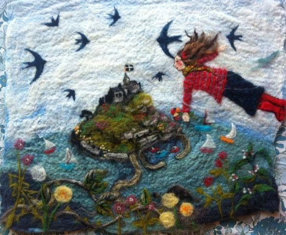 Embroidered and felted pic, 4 crows gallery, Porthleven