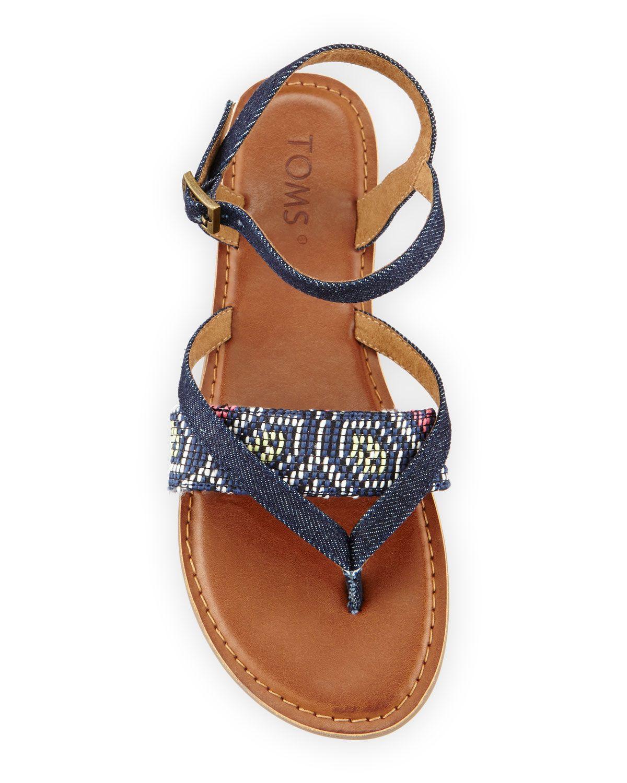 1a0fb7bffd68a TOMS Lexie Denim Flat Thong Sandal