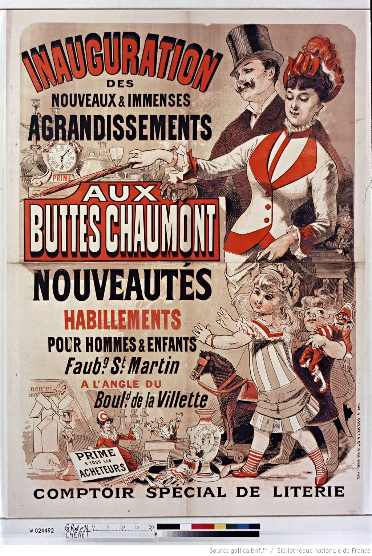 Inauguration Des Nouveaux Et Immenses Agrandissements Aux Buttes Chaumont Affiche Jules Cheret Jules Cheret Bibliotheque Nationale De France Affiche