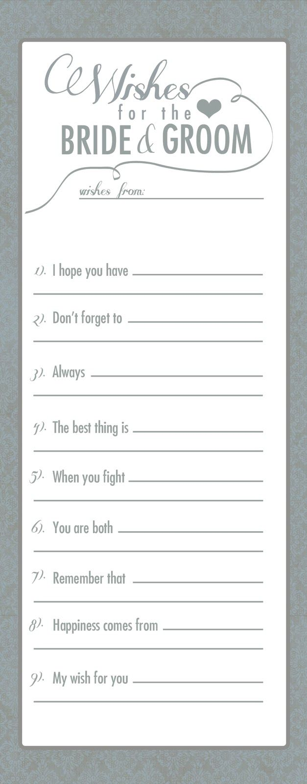Instructions Please Fill Out An Advice Card For Amber And Joe And