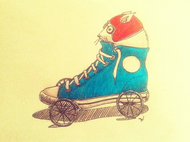 Rat racer #drawing #illustration #mouse #shoes #converse #funny #feltpen #josecastaneda
