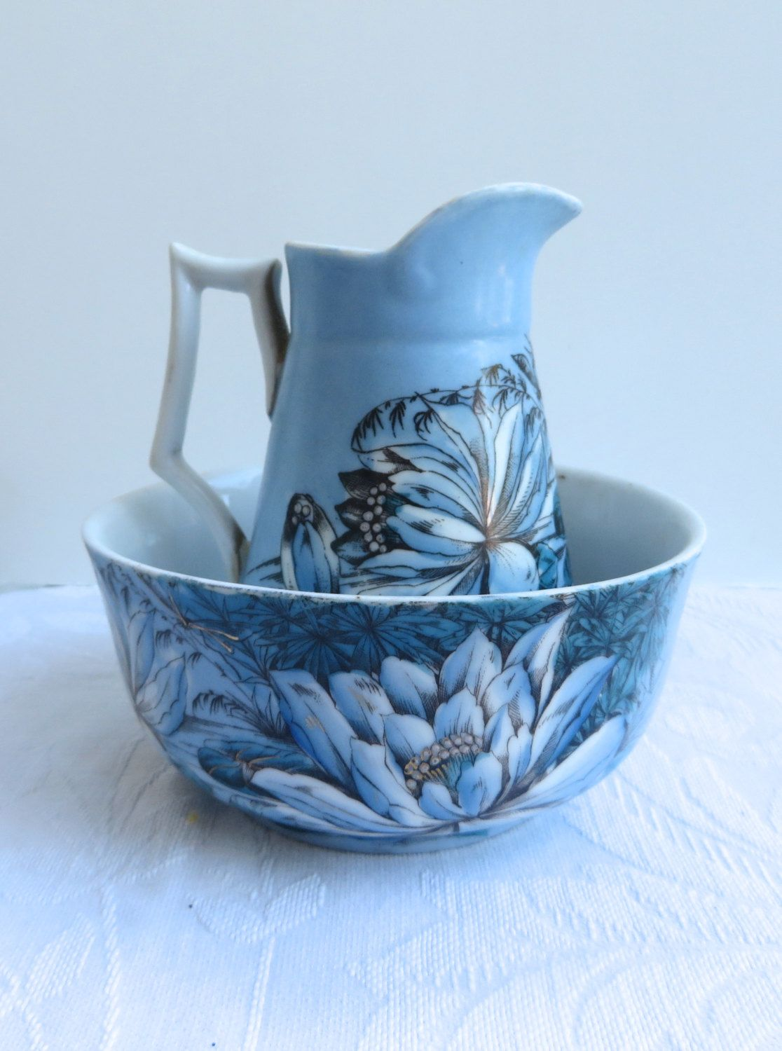Victorian Era Water Pitcher And Bowl Set Blue Background With Magnolia Flowers Bamboo Plants Lilies And Even A Drago Bowl Antique Pitcher Porcelain Pitcher