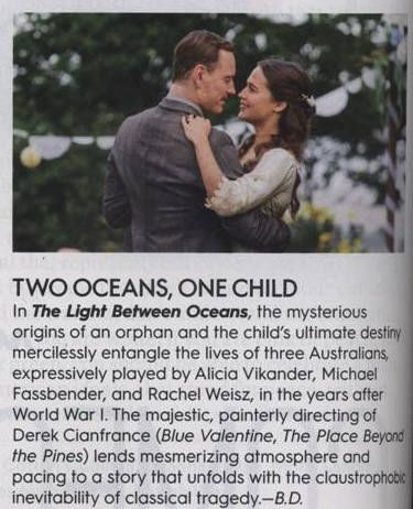 Review of Michael Fassbender and Alicia Vikander in The Light Between Oceans…