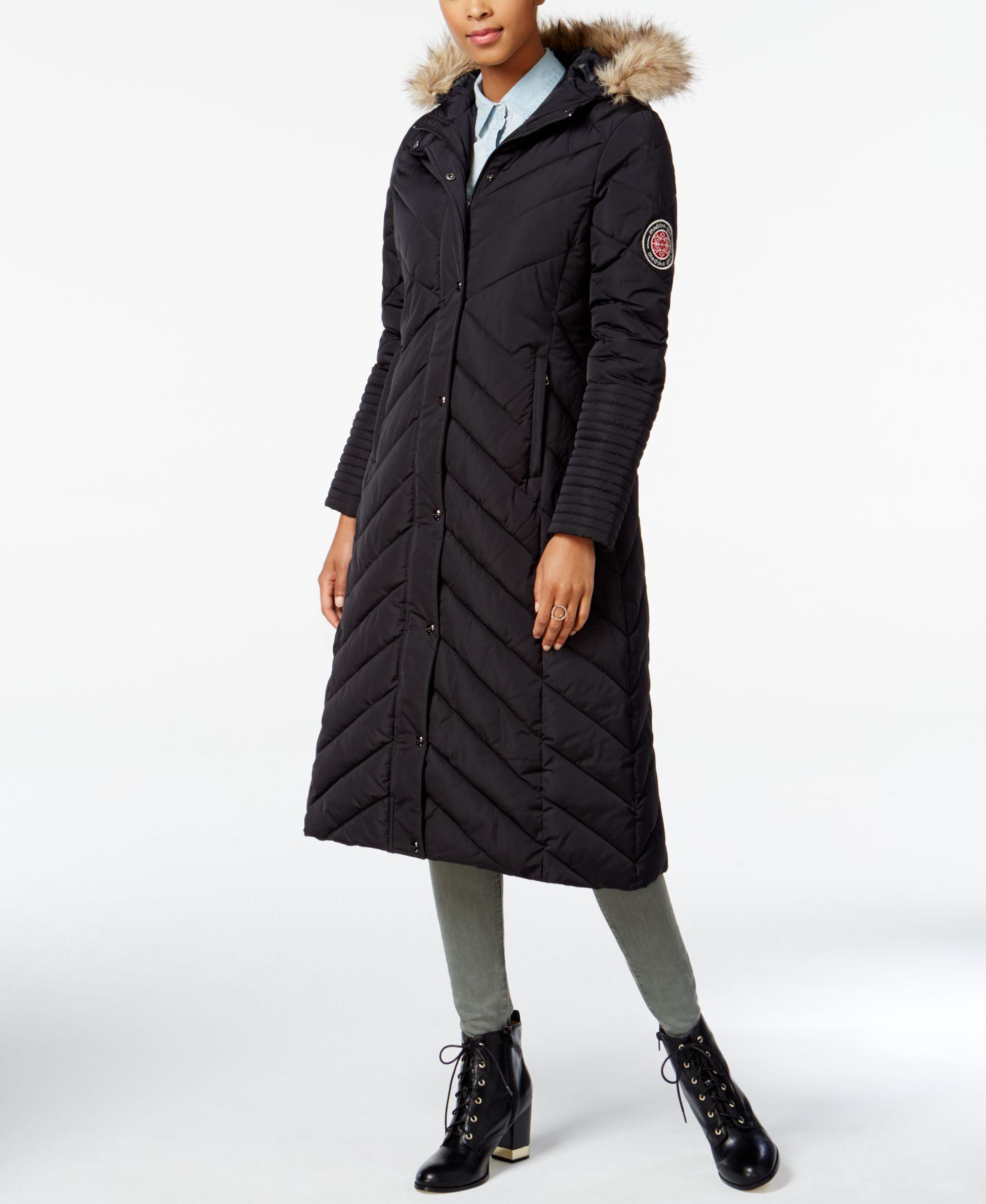 ab871ad9e00ad Madden Girl Faux-Fur-Trim Maxi Puffer Coat