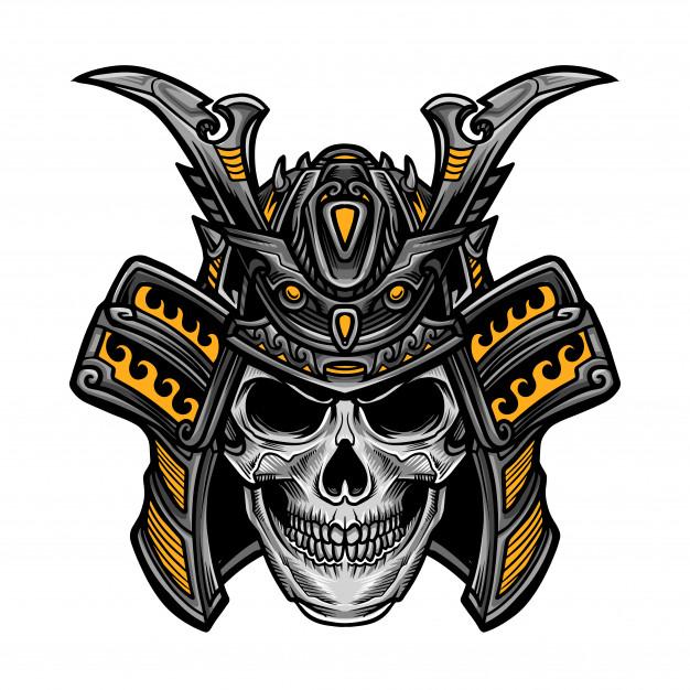 Samurai Skull Head Vector Seni Jepang Gambar Tato Seni Tengkorak