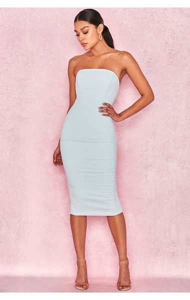 76e7428faffe Clothing : Bodycon Dresses : 'Isabella' Light Blue Strapless Crepe Dress  CollectiveStyles.com