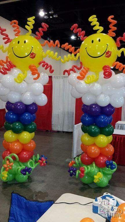 decoracin con globos columnas para fiestas infantiles