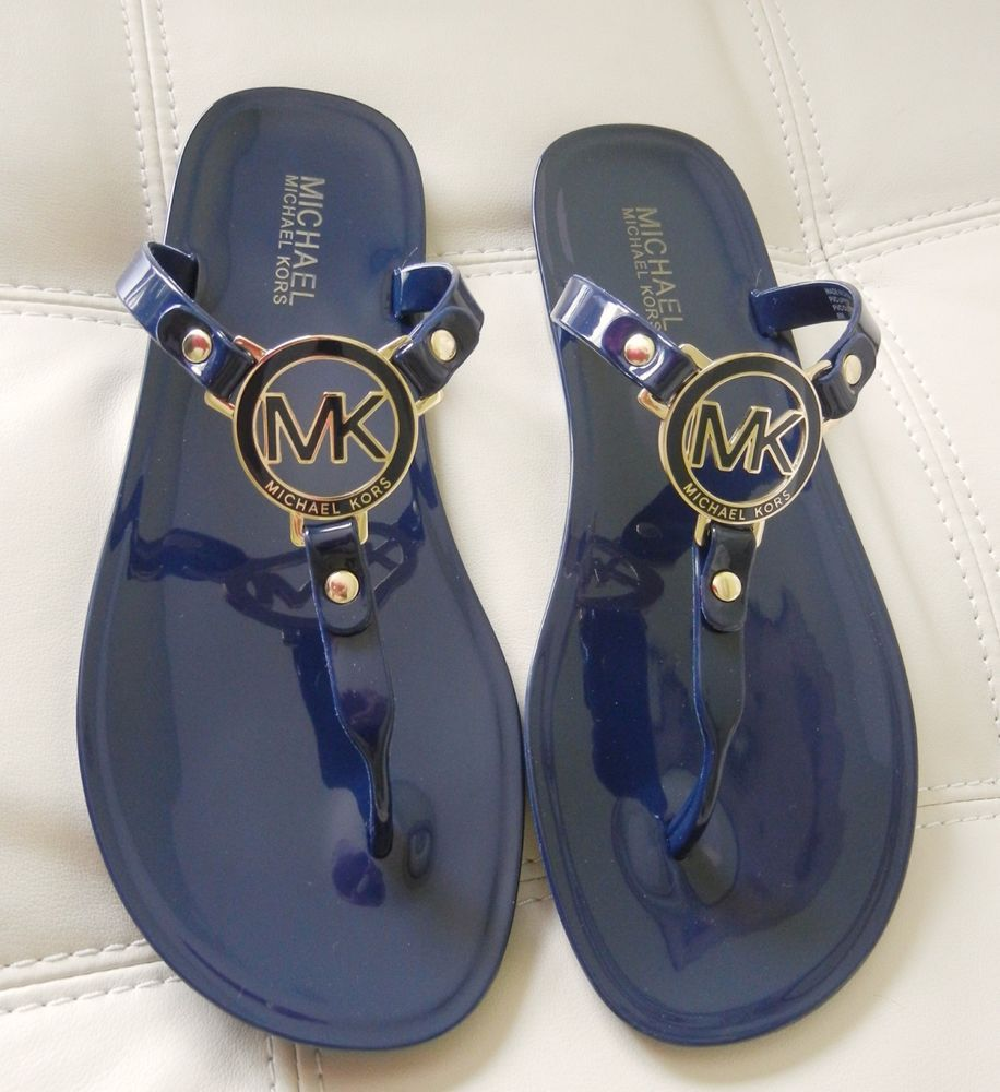 c734685190d896 New Michael Kors MK Charm Jelly Thong Sandals Navy Blue Size 8M  MichaelKors   TStrap