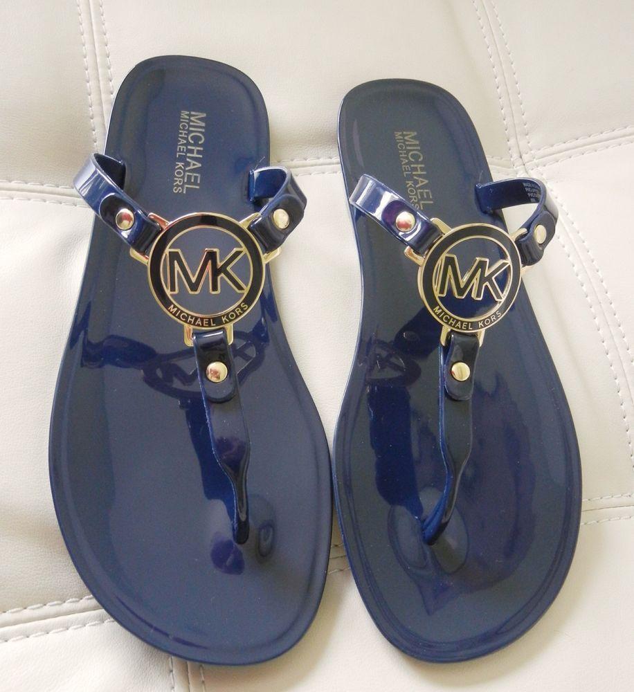 4f4e6c771b659 New Michael Kors MK Charm Jelly Thong Sandals Navy Blue Size 8M  MichaelKors   TStrap