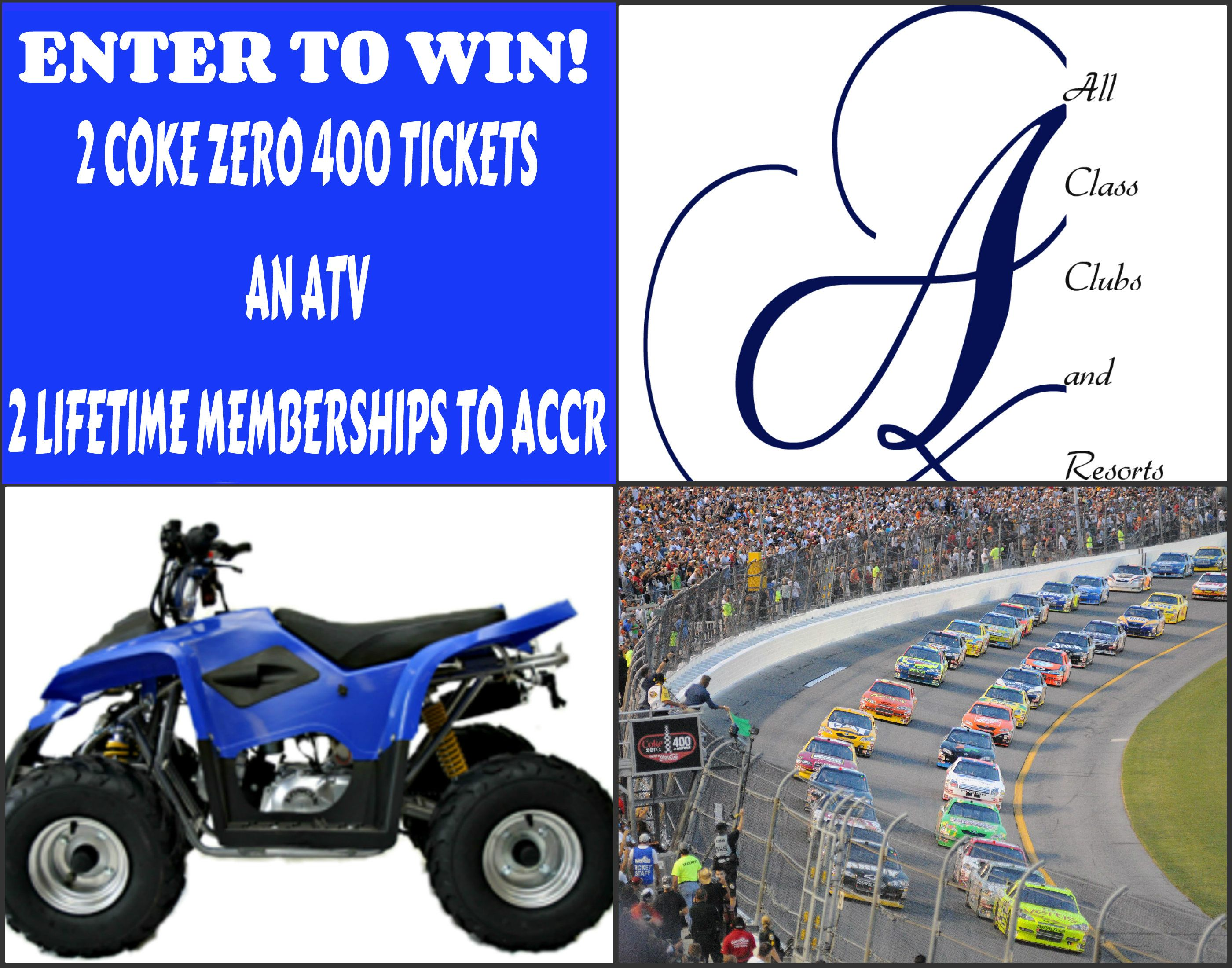 Make sure to visit our page and enter to win an #ATV! All who enter by July 1st are qualified to #win additional #prizes including 2 tickets to the Coke Zero 400 and 2 lifetime memberships to All Class Clubs and Resorts. Read more about it on our #blog!