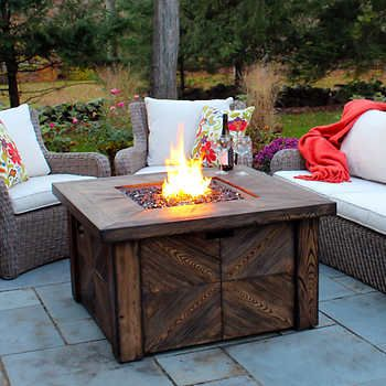 Global outdoors faux wood fire table landscapes for for Global outdoors fire table