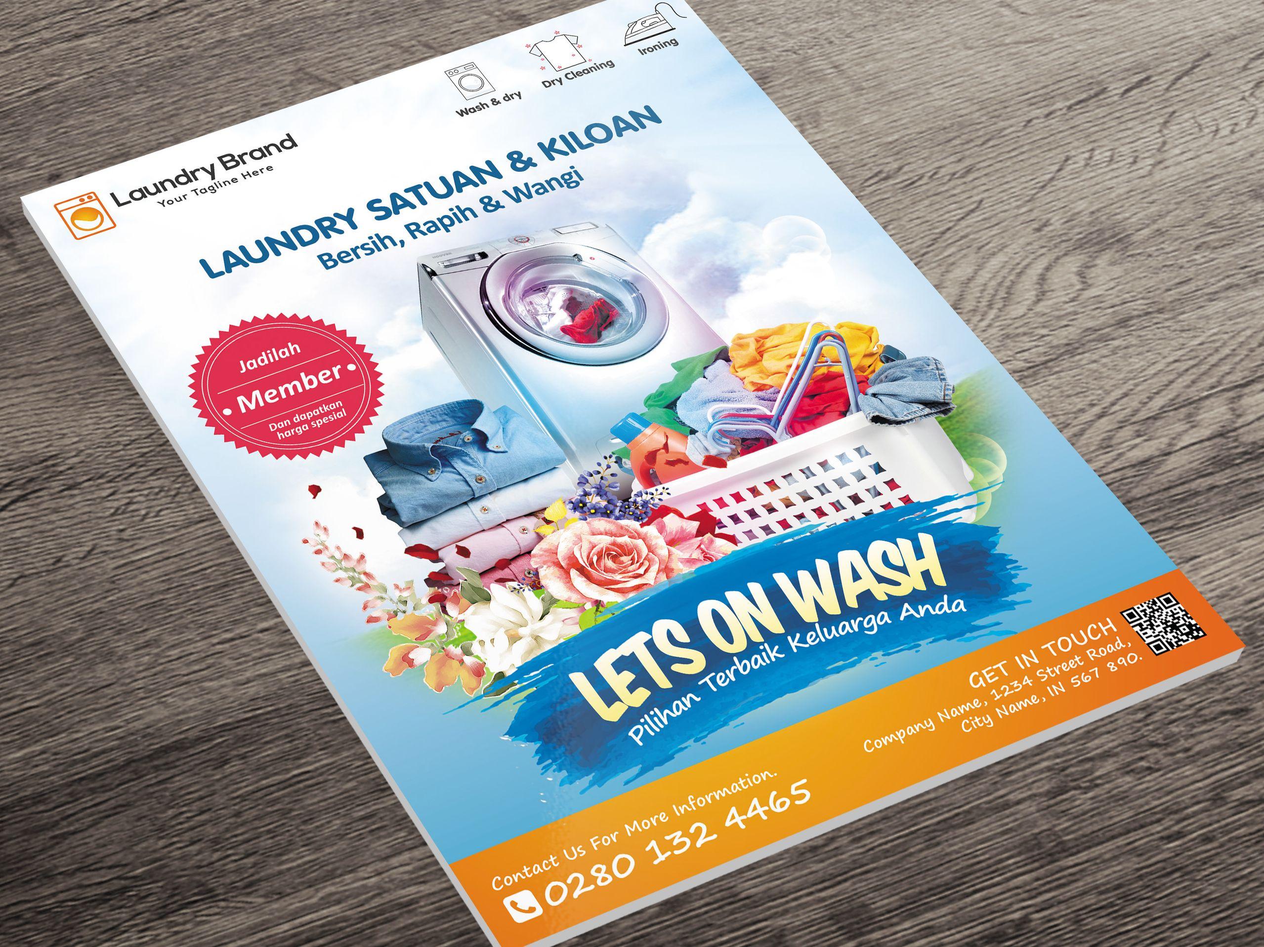 Laundry Flyer Desain Desain Poster Poster