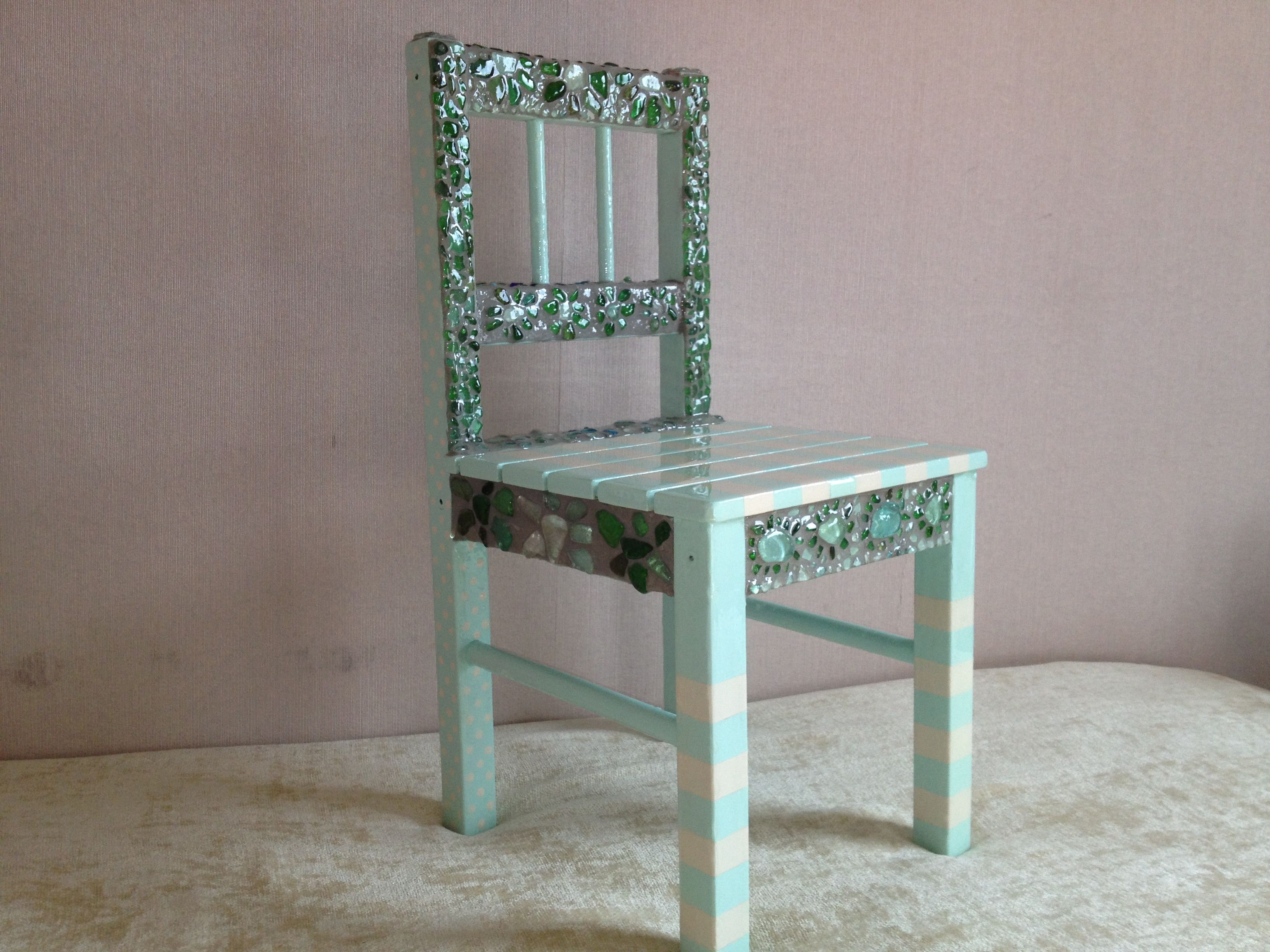 Child's chair with sea glass