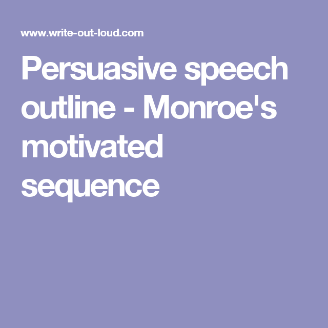 Persuasive Speech Outline  MonroeS Motivated Sequence  Public