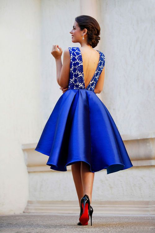 Spring Navy blue short gown with open back, floral detail