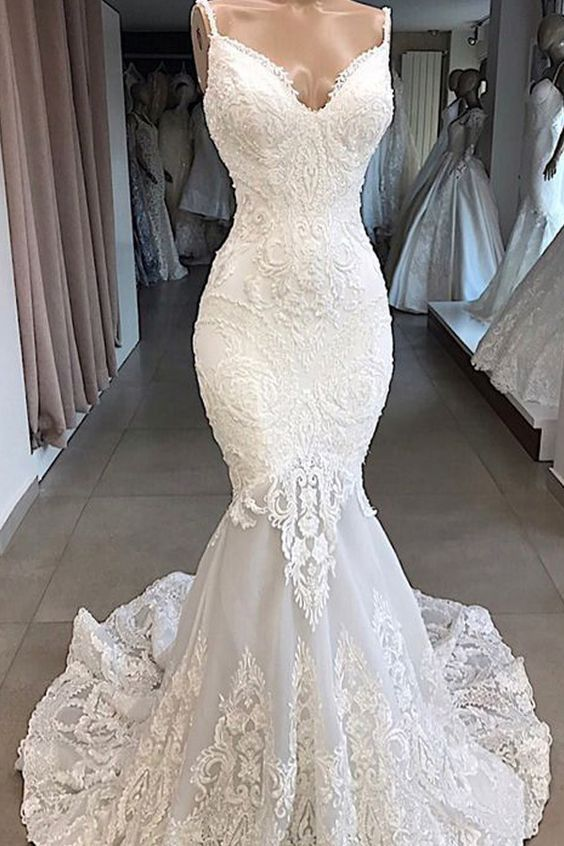 Elegant Tulle Spaghetti Straps Neckline Mermaid Wedding Dresses With Beaded Lace Appliques Wedding Dresses Online Wedding Dress Mermaid Wedding Dress