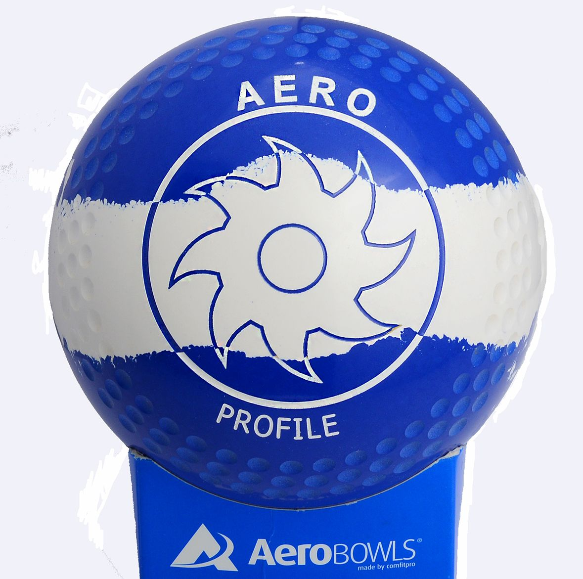 Aero Profile lawn bowl with premium color blue/white/blue