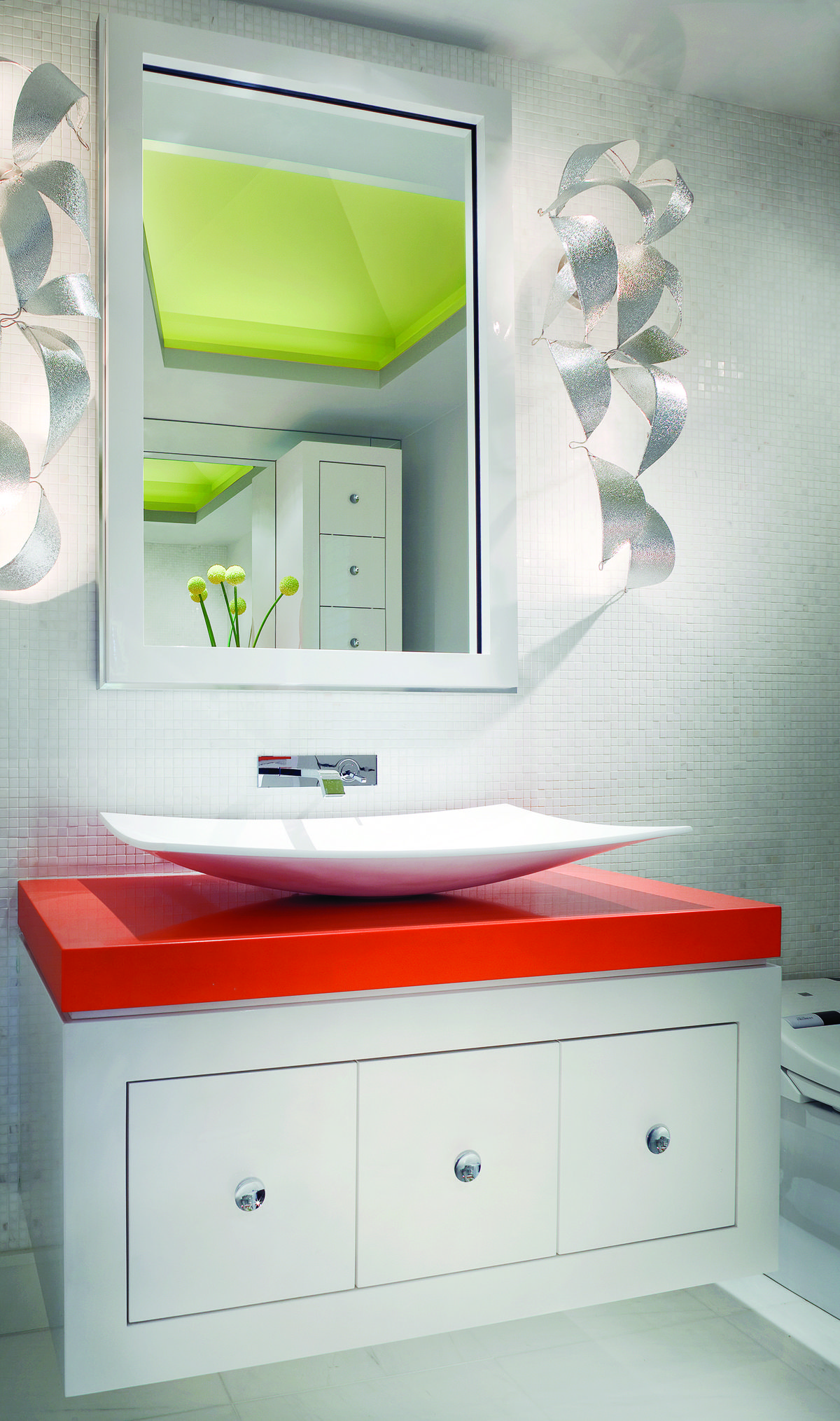 Bathroom vanity made from caesarstone tequila with top