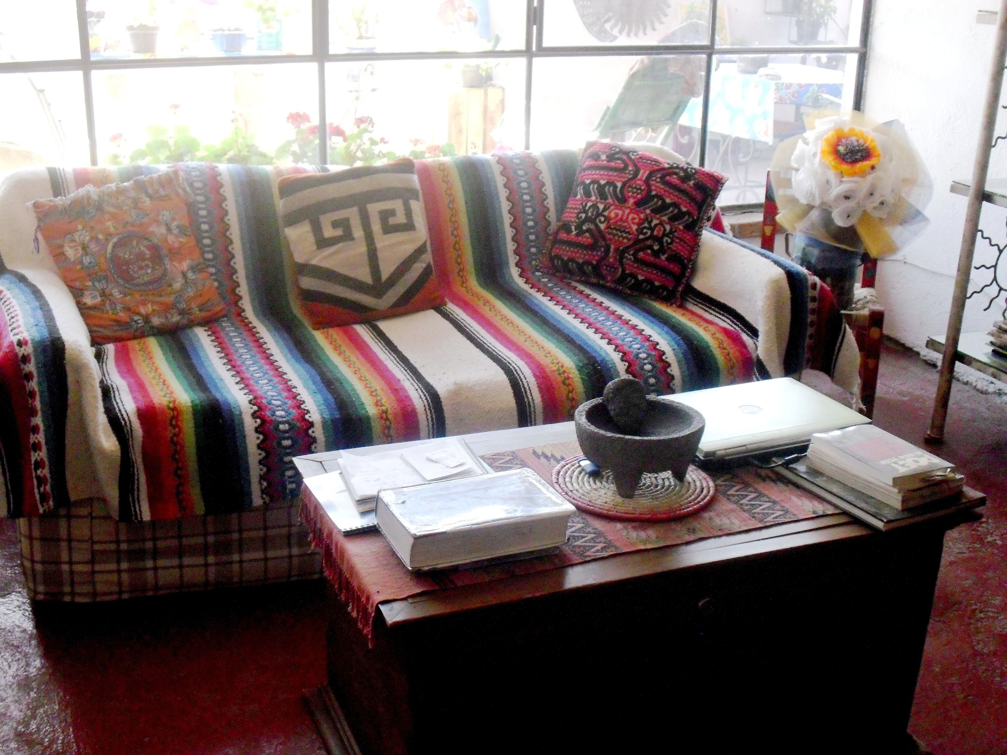 A Flea Market Find Mexican Blanket As A Couch Cover In