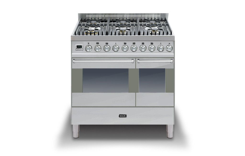 Ilve Ultimo 90cm Wide Dual Fuel Range Cooker In Stainless Steel